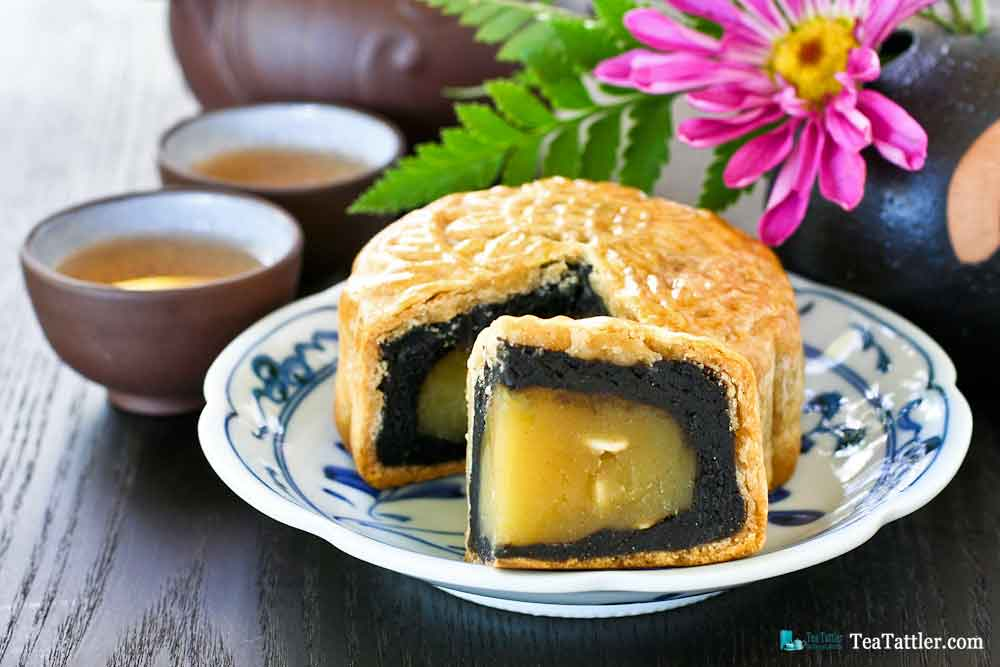 Black Sesame and Lotus Paste Mooncakes for the Mid Autumn Festival celebrated on the 15th day of the 8th moon of the Lunar calendar. | TeaTattler.com #mooncakes #midautumnfestival #mooncakefestival