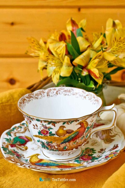 Olde Avesbury Teacup and Saucer with Colorful Birds of Paradise and Oriental Pheasants design taken from an original embroidery.   TeaTattler.com #oldeavesbury #teacup #royalcrownderby