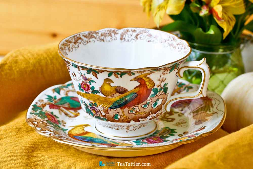 Olde Avesbury Teacup and Saucer with Colorful Birds of Paradise and Oriental Pheasants design taken from an original embroidery. | TeaTattler.com #oldeavesbury #teacup #royalcrownderby