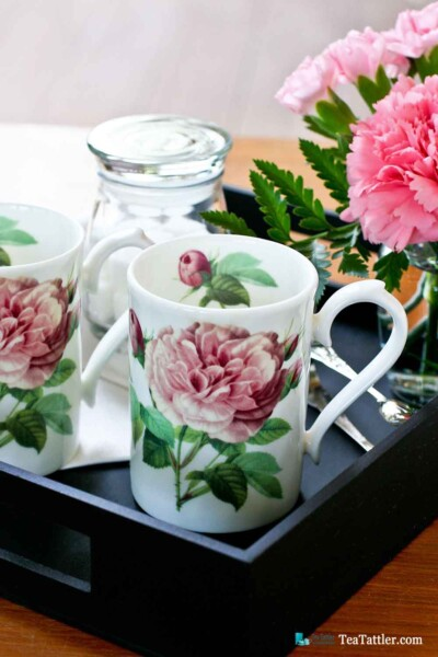 The Rose Collection - dainty and practical tea mugs by Roy Kirkham, England for a quick cuppa. Perfect for settling in with a good book.   TeaTattler.com #teamug