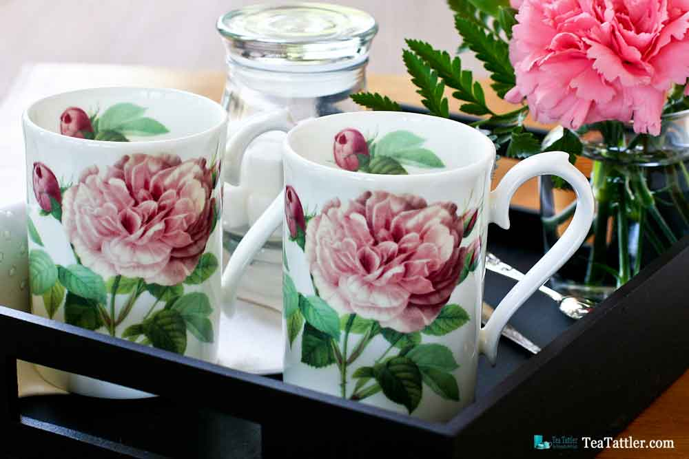 The Rose Collection - dainty and practical tea mugs by Roy Kirkham, England for a quick cuppa. Perfect for settling in with a good book. | TeaTattler.com #teamug