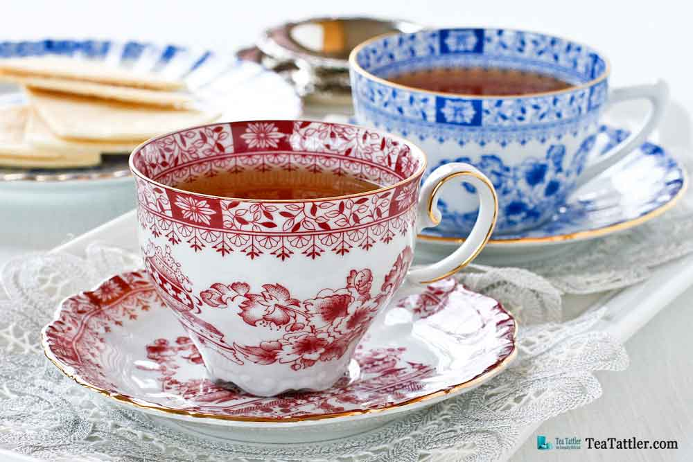 Dainty Dorothea Red Teacup with scalloped foot and floral motifs matching the popular Dorothea China Blue by the same manufacturer. | TeaTattler.com #dorotheateacup #teacup
