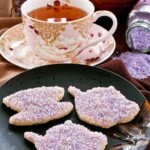 Lavender Sugar Cookies with Amethyst Shimmer - fun and pretty sugar cookies flavored with culinary lavender perfect for afternoon tea.   TeaTattler.com #lavendersugarcookies #lavendercookies #sugarcookies