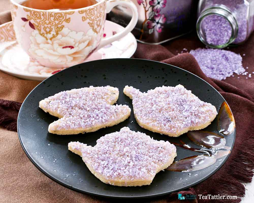 Lavender Sugar Cookies with Amethyst Shimmer - fun and pretty sugar cookies flavored with culinary lavender perfect for afternoon tea. | TeaTattler.com #lavendersugarcookies #lavendercookies #sugarcookies