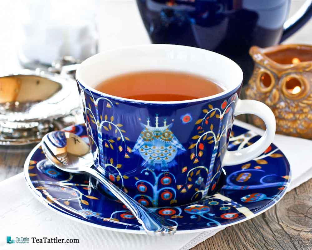 This bold and exuberant Taika Magic Teacup pattern is folkloric to inspire your imagination. Designed by Klaus Haapaniemi, Heikki Orvola.   TeaTattler.com #taikamagicteacup #finalandteacup