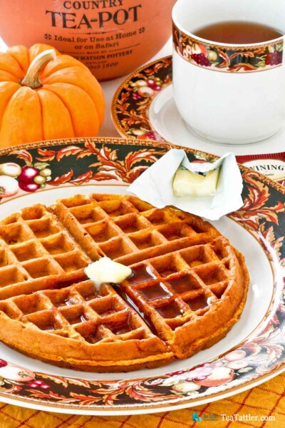 Treat your family to these light and deliciously spiced Chai Gingerbread Pumpkin Waffles. Perfect for the weekends or holidays. | TeaTattler.com #pumpkinwaffles #gingerbreadwaffles