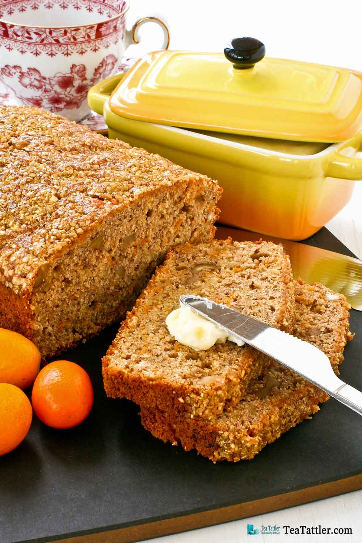 Spiced Kumquat Nut Bread with Gold Shimmer - a delicious tea bread fragrantly spiced with cinnamon, ginger, cloves, cardamom, and nutmeg.   TeaTattler.com #spicedbread #kumquatbread