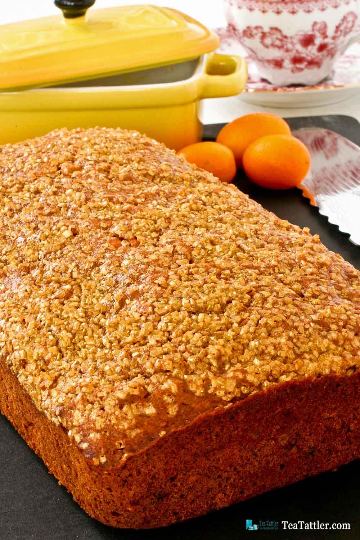 Love the Gold Shimmer sugar on this delicious tea bread fragrantly spiced with cinnamon, ginger, cloves, cardamom, and nutmeg.   TeaTattler.com #spicedbread #kumquatbread