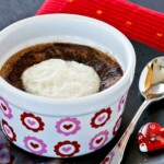 Baked Hot Chocolate - a warm and delicious flourless pudding-like dessert that uses only 4 ingredients. Especially satisfying on a cold day!   TeaTattler.com #bakedhotchocolate #hotchocolate