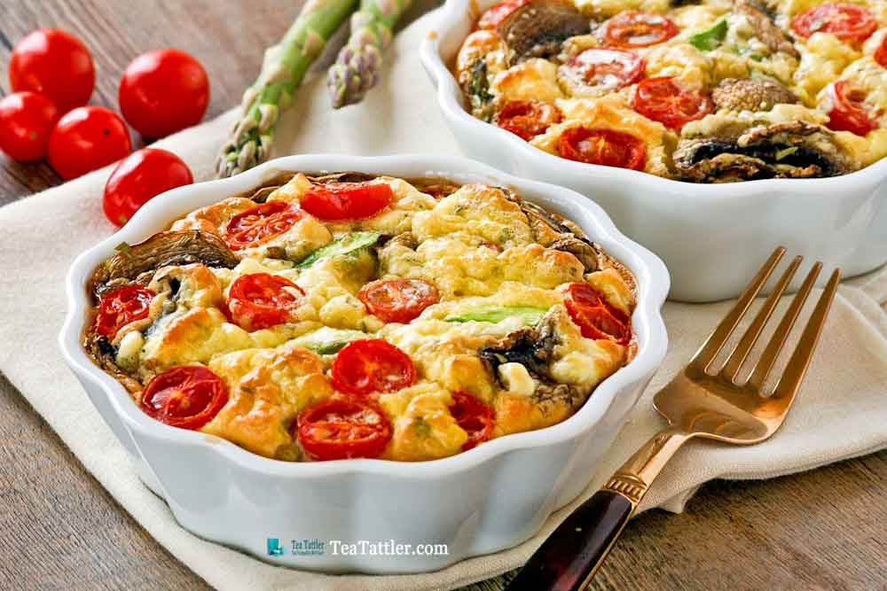 Easy Asparagus Mushroom Crustless Quiche with seasonal vegetables for Mother's Day or any day. Also a delicious brunch idea for the weekends. | TeaTattler.com #asparagusquiche #mushroomquiche #crustlessquiche