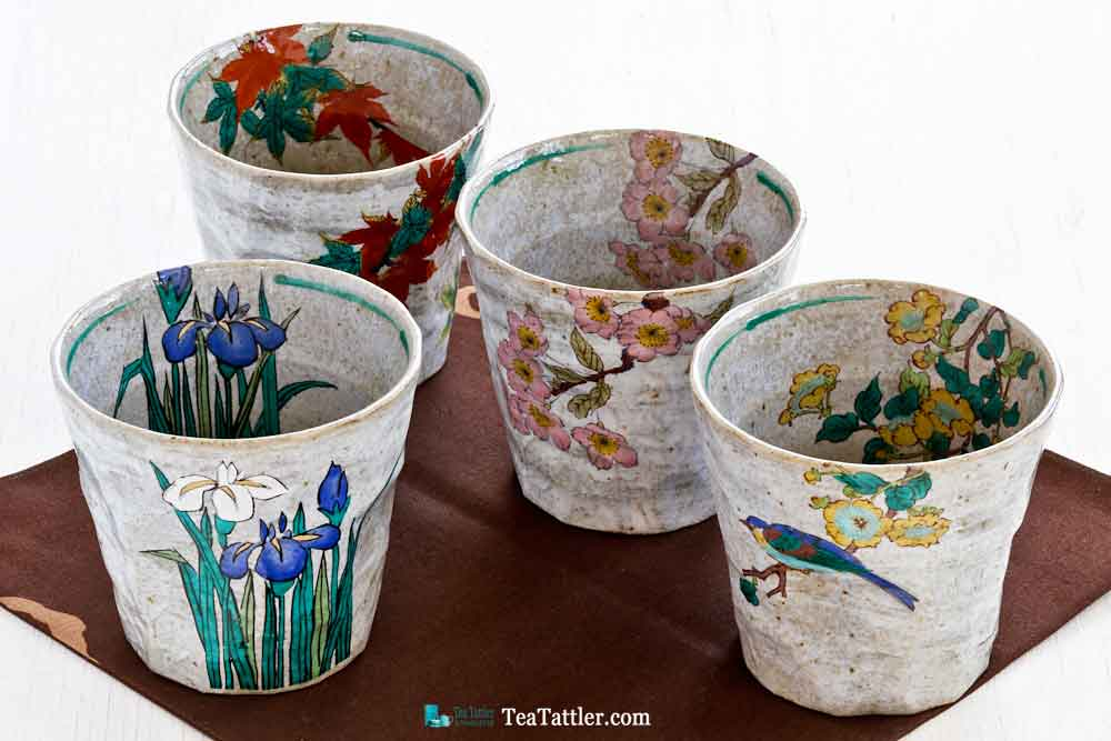 Kutani Teacups from Kanazawa, Japan, known for their porcelain with multiple colors and designs covering the surface of each piece. | TeaTattler.com #kutani #kutaniteacups #teacups