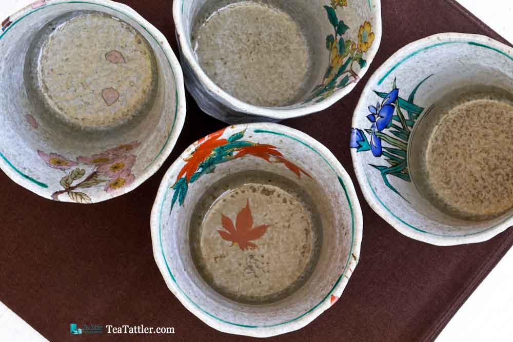 The insides of these beautiful cups. | TeaTattler.com #kutani #kutaniteacups #teacups