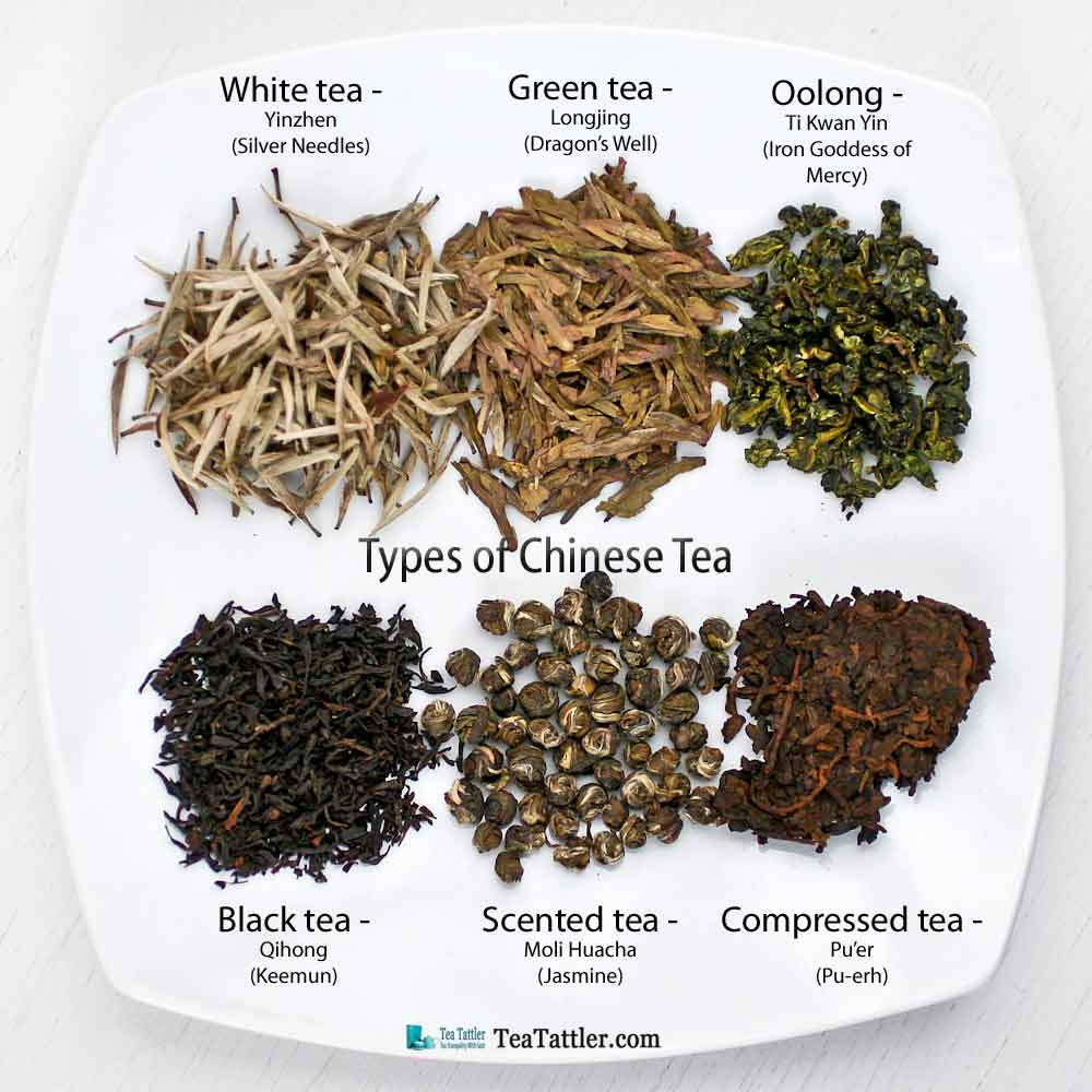 Types of Chinese Tea - white, green, oolong, black, scented, and compressed coming from the same tea plant but each processed differently. | TeaTattler.com #chineseteas